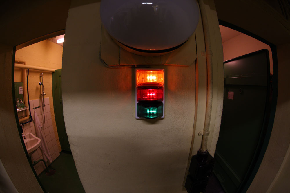Information lights in the bunker.
