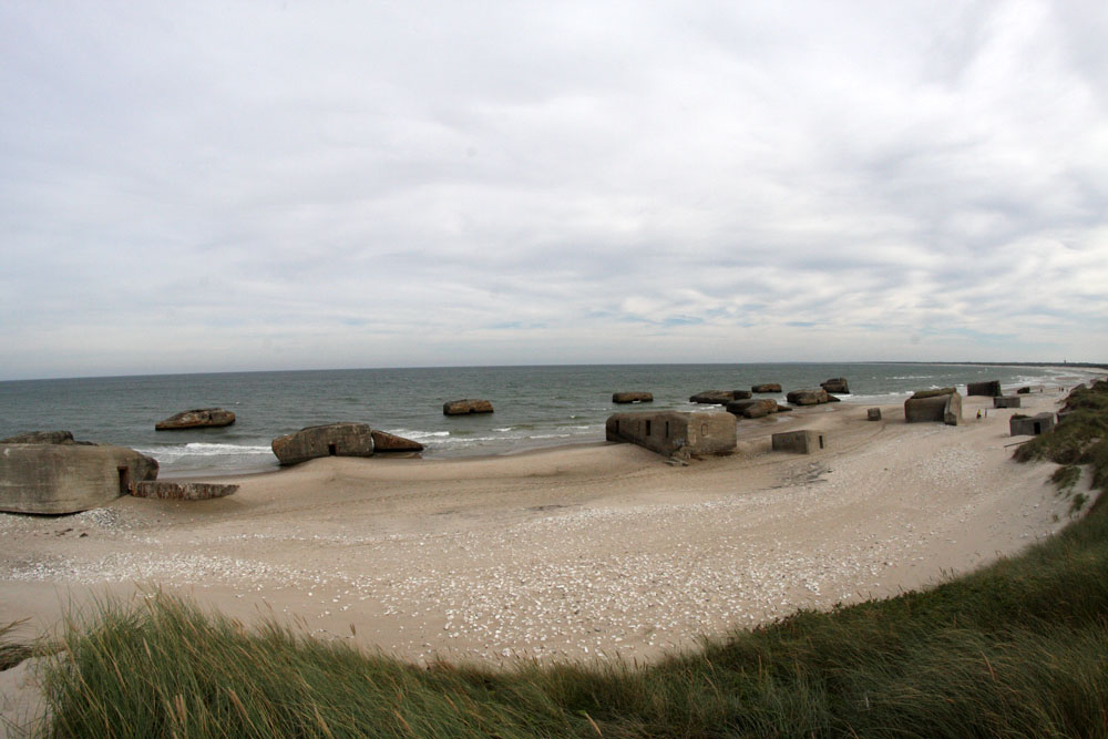 Half of the bunkers on the beach. One of the most dence populations of bunkers in Denmark