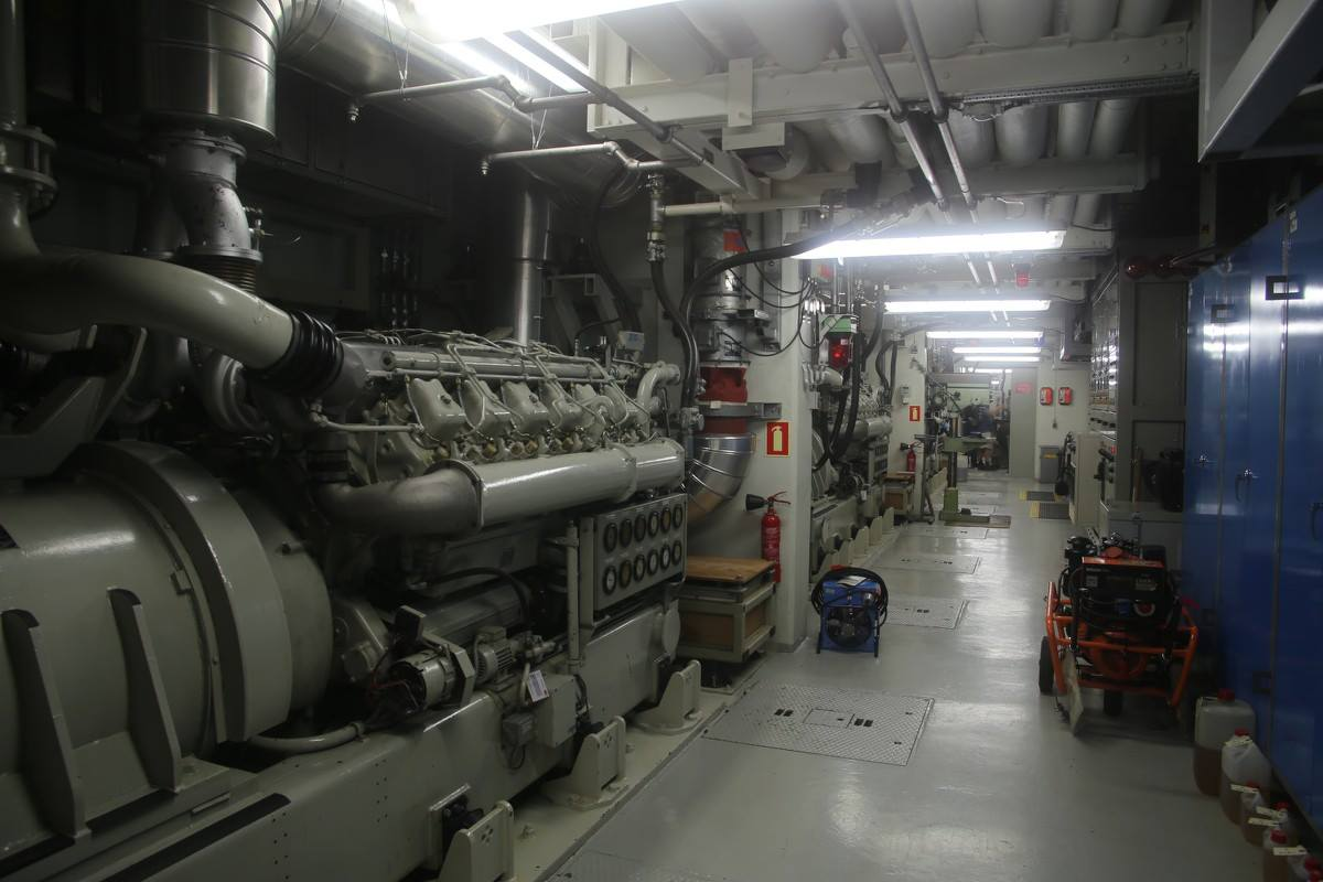 The room with the three generators on the lower floor of the bunker.