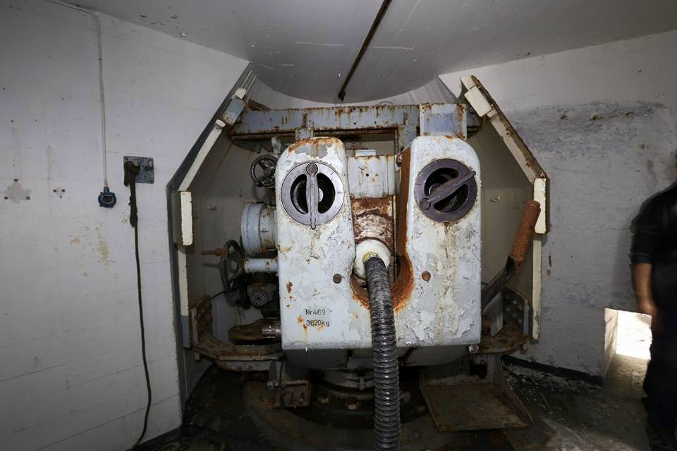 One of the remaining guns from inside.