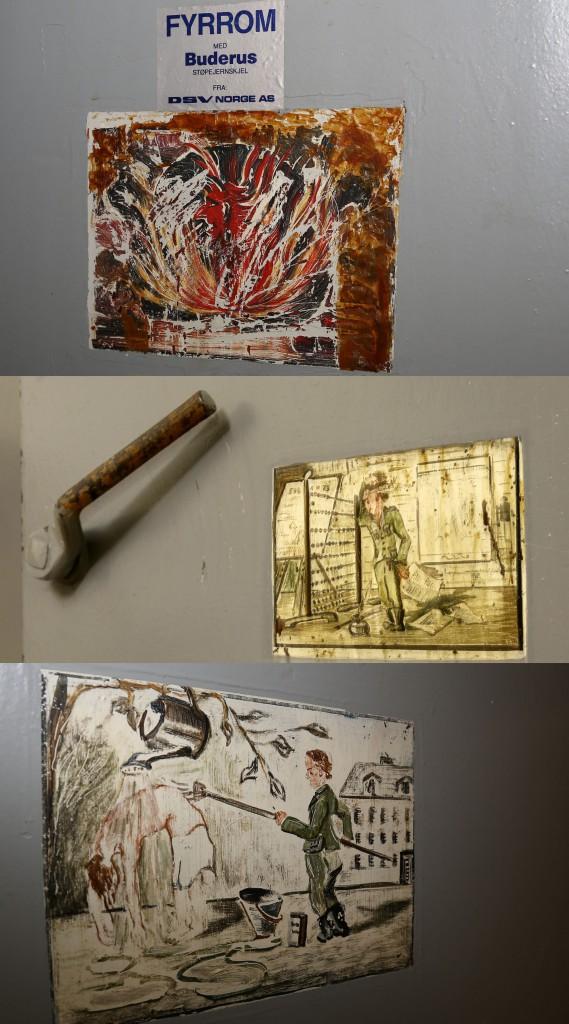 Three different original german drawings inside the bunker.