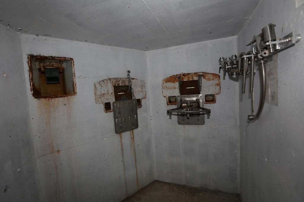 One of the defence nests. Periscope to the left and machinegun slots to the right.
